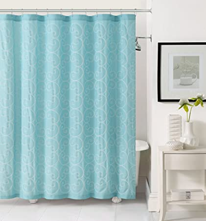 Fabric Shower Curtain With White Embroidered Swirl Circle Design Light Aqua Blue