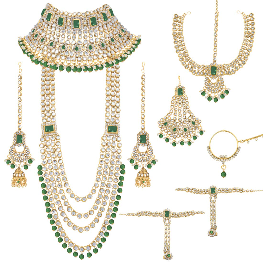 Peora Ethnic Indian Traditional Green Kundan Dulhan Bridal