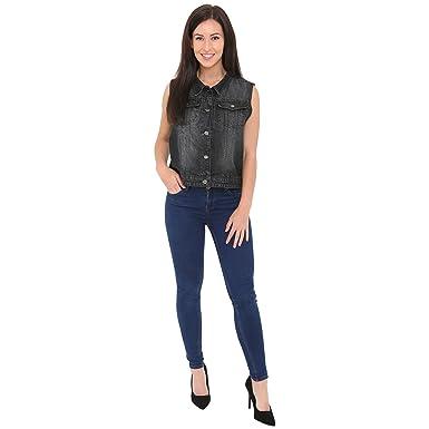 747443ec3a04e1 SKYLINEWEARS Women s Buttoned Denim Washed Vest W Flap Pockets Black S