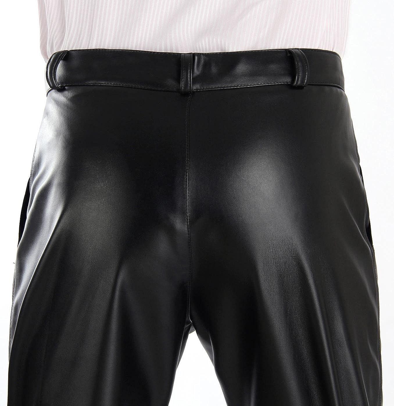 Pantalones De Piel Para Hombre Invierno Evitar El Viento Hombre Ocio Pantalon Largos Con Forro Suave Caliente Espesado Resiatente Al Agua Color Negro Aieoe Pantalones Ropa