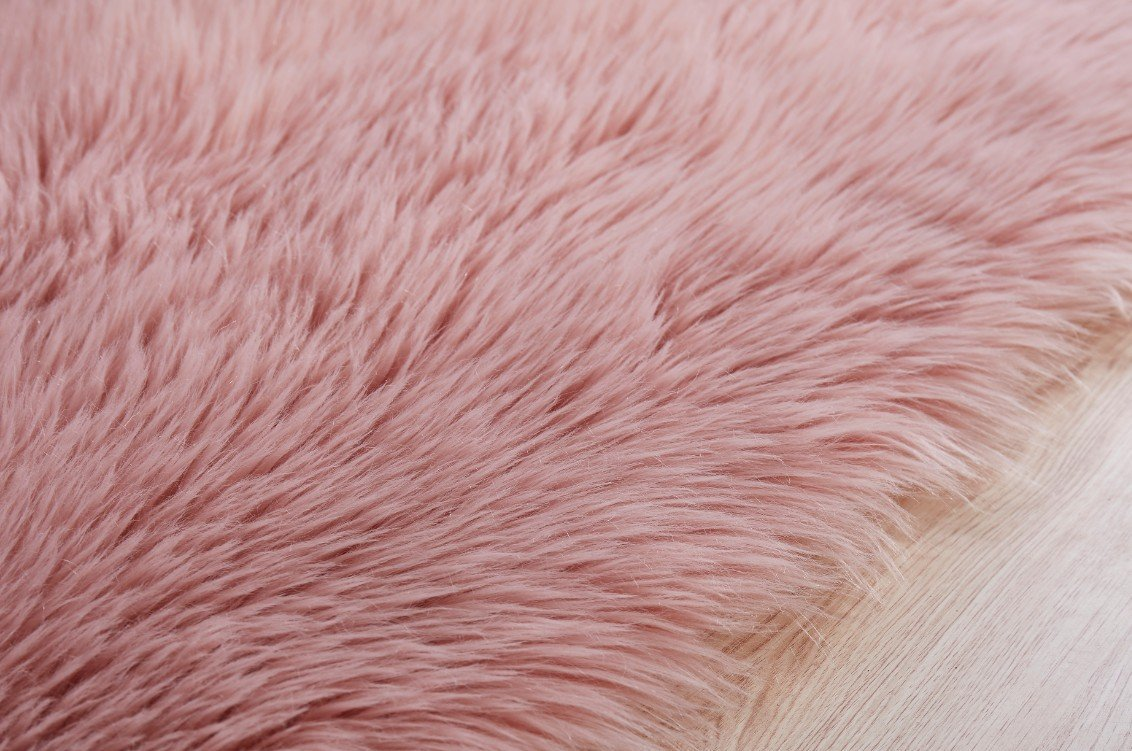Elhouse Home Decor Square Rugs Faux Fur Sheepskin Area Rug Shaggy Carpet Fluffy Rug for Baby Bedroom, 4ft x 4ft, Baby Pink by Elhouse (Image #5)