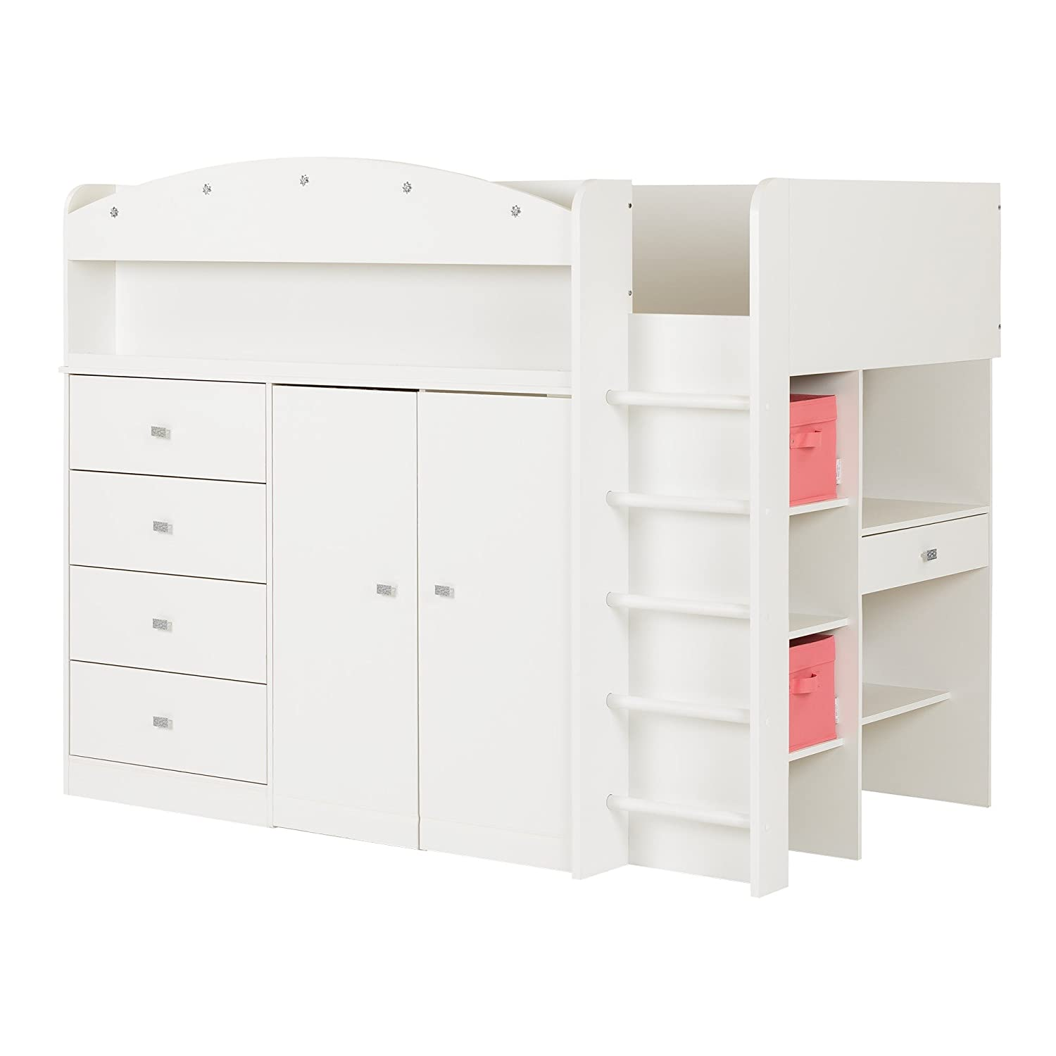 South Shore 10523 Tiara Loft Bed with Desk, Twin