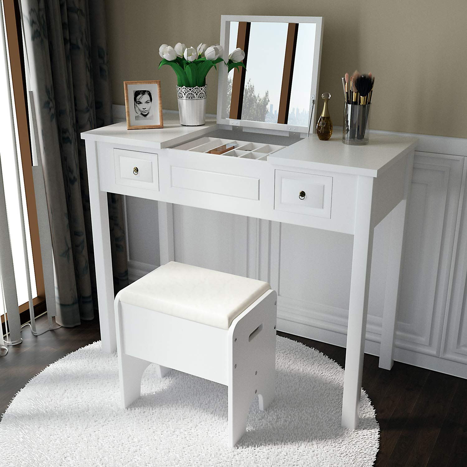 Amooly Vanity Set with Flip Top Mirror Makeup Dressing Table Writing Desk with 2 Drawers Cushioned Stool 3 Removable Organizers Easy Assembly