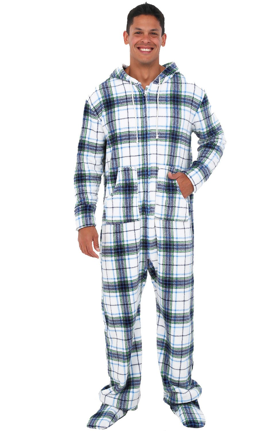 Alexander Del Rossa Mens Fleece Onesie, Hooded Footed Jumpsuit Pajamas, Medium Blue on White Plaid (A0320P06MD)