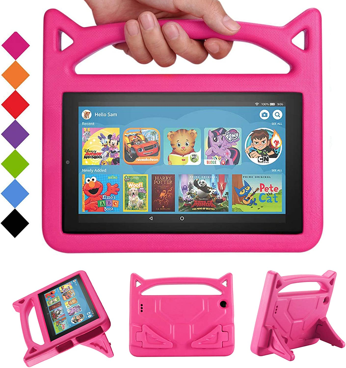 Amazon Com 2019 Fire 7 Tablet Case For Kids Shreborn Kids Shock Proof Case Cover With Handle And Stand For Amazon Kindle Fire 7 Inch Tablet Compatible With 9th 7th 5th Generation 2019 2017 2015 Release Rose Electronics