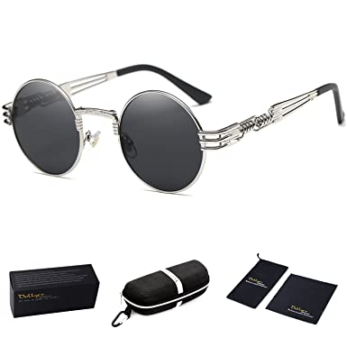 Dollger John Lennon Round Sunglasses Steampunk Metal Classic Frame Mirror Lens(Silver Mirror Lens+Silver Frame) lcOUTQYmsy
