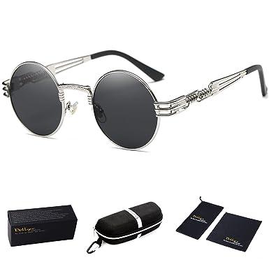 dollger john lennon round sunglasses steampunk metal spring frame mirror lens black lens silver frame