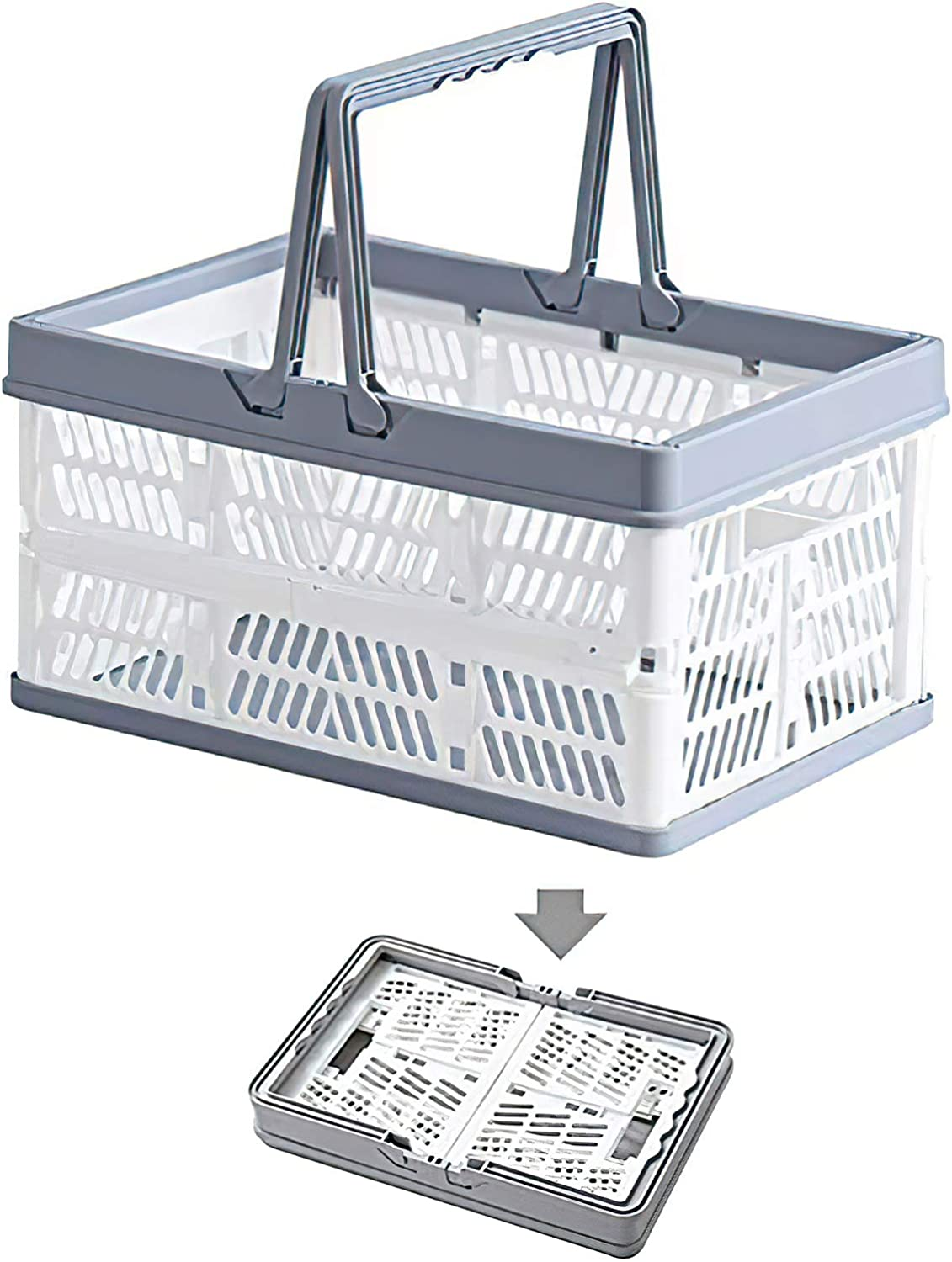 Plastic Collapsible Storage Shopping Basket crates Stackable Crate bin Folding Storage Bins Baskets with Handles, Utility Container Organizer Bins for Kitchen Bathroom Grocery Car Trunk Books