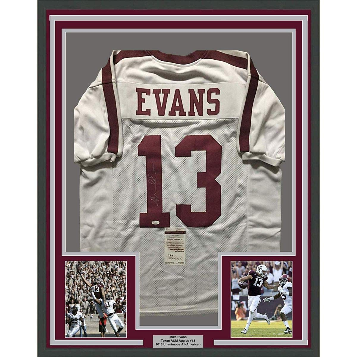 e857cb7db4e Framed Autographed Signed Mike Evans 33x42 Texas A M Aggies White College  Football Jersey JSA COA at Amazon s Sports Collectibles Store
