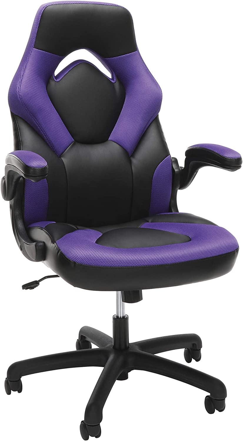 OFM Racing Style Bonded Leather Gaming Chair, in Purple (ESS-3085-PUR)