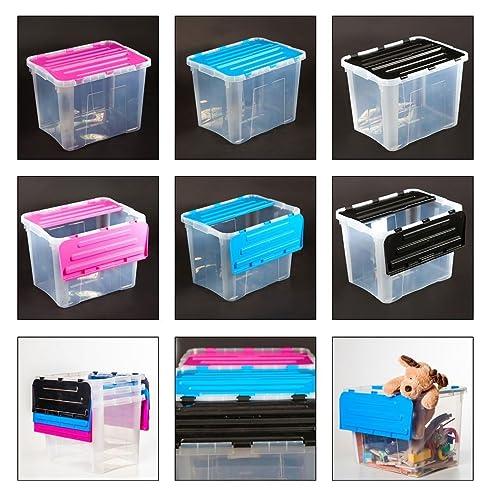 Esto24® Kunststoff Box Mit Klappdeckel Stapelbar 42 L Aufbewahrung Kiste  Werkstatt Büro Kinder In 3