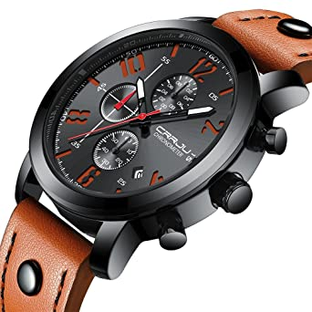 12ddb397a58af Casual Sport Watches for Men,Fashion Luxury Quartz Watch,Mens Chronograph  Waterproof Wristwatch with