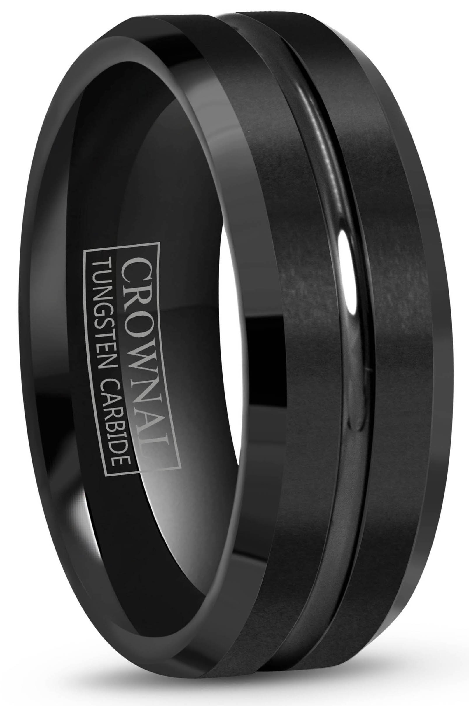Crownal 4mm 6mm 8mm 10mm Black Tungsten Wedding Band Ring Men Women Beveled edges Polished Grooved Center Comfort Fit Size 4 To 17 (8mm,10.5)