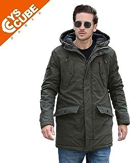 YsCube Mens Winter Thick Warm Parka Medium Length Thermal Coats Hood