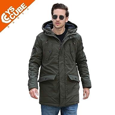 YsCube Mens Parka Jackets for Men Winter Coats for Men Down Parka ... c20a76a6ec0c