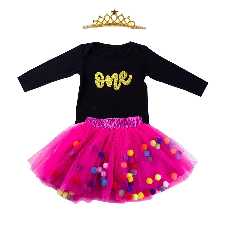 45770c3a13279 Baby Girls 1st Birthday Outfit Glitter One Romper Balls Skirt Crown Headband
