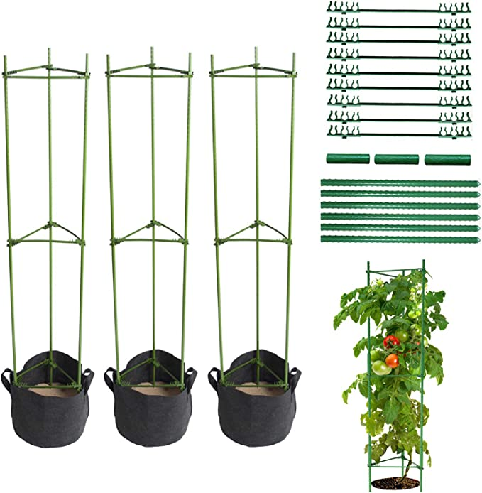 LIBRNTY 3pcs Apoyo para Plantas,Soporte para Jaula de Jardín,Anillo de Soporte de Planta de jardín, Tomate y Planta, Soporte para Escalada,Acero con Revestimiento de plástico, con biela