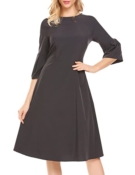 ZEAGOO Women's 3/4 Flare Sleeve A-Line Causal Party Dress, Dark Grey, Large
