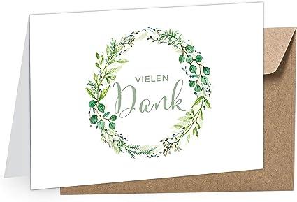 8 Dankeskarten Hochzeitskarte Vielen Dank Kranz Grün Klappgrußkarte Grußkarte Hochzeit Taufe Kommunion Konfirmation Uvw Anlässe Umschlag Braun