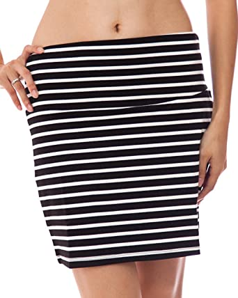 Ladies Black and White Horizontal Striped Skirt at Amazon Women's ...