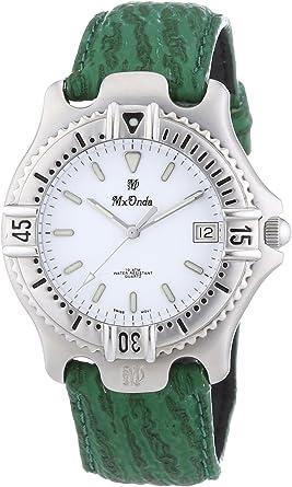 Mx Onda - Reloj Analógico de Cuarzo para Hombre, Correa de Cuero Color Verde
