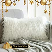MIULEE Christmas Decorative New Luxury Series Style White Faux Fur Throw Pillow Case Cushion Cover for Sofa Bedroom Car 12 x 20 Inch 30 x 50 cm