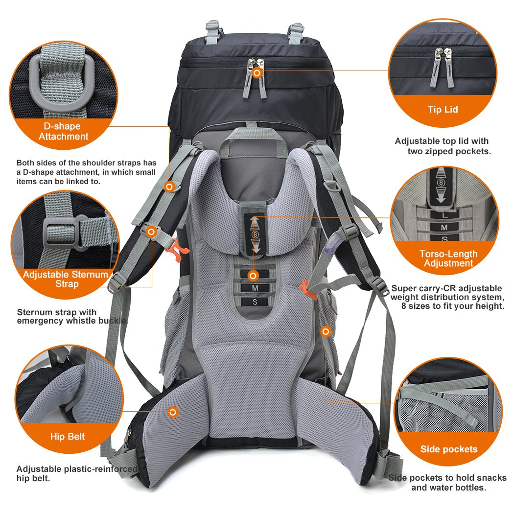 e9a3b7a7ef Mountaintop 70L+10L Outdoor Sport Water-resistant Internal Frame Backpack  Hiking Backpack Backpacking Trekking