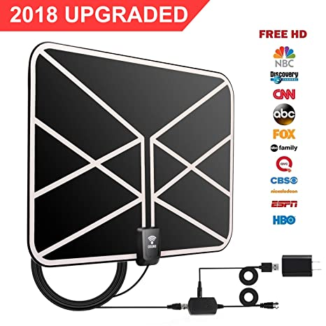 HD TV Antenna, 2018 Newest Indoor Digital TV Antenna 60-80 Miles Long Range