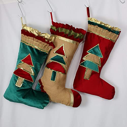 Amazon Com Velvet Christmas Stockings Burlap Teal Red Options