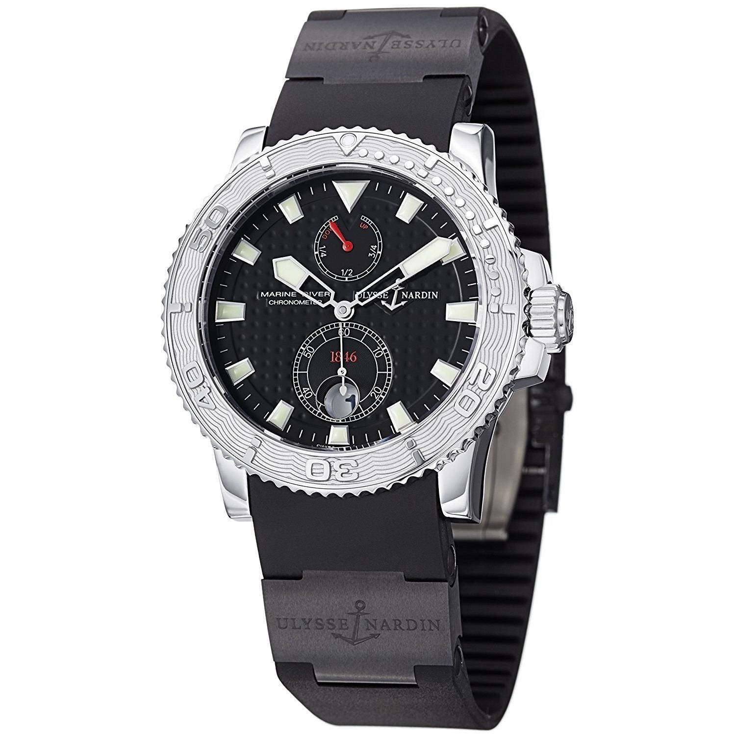 Ulysse Nardin Maxi Marine Diver Chronometer Men's Automatic Black Rubber Strap Watch 263-33-3C/92