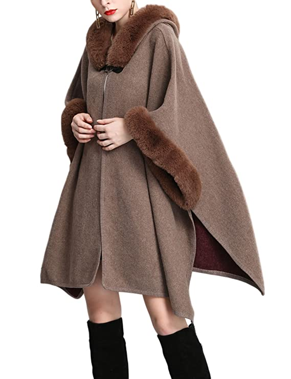 Victorian Clothing, Costumes & 1800s Fashion Gihuo Womens Batwing Faux Fur Hooded Cloak Poncho Cape $45.99 AT vintagedancer.com