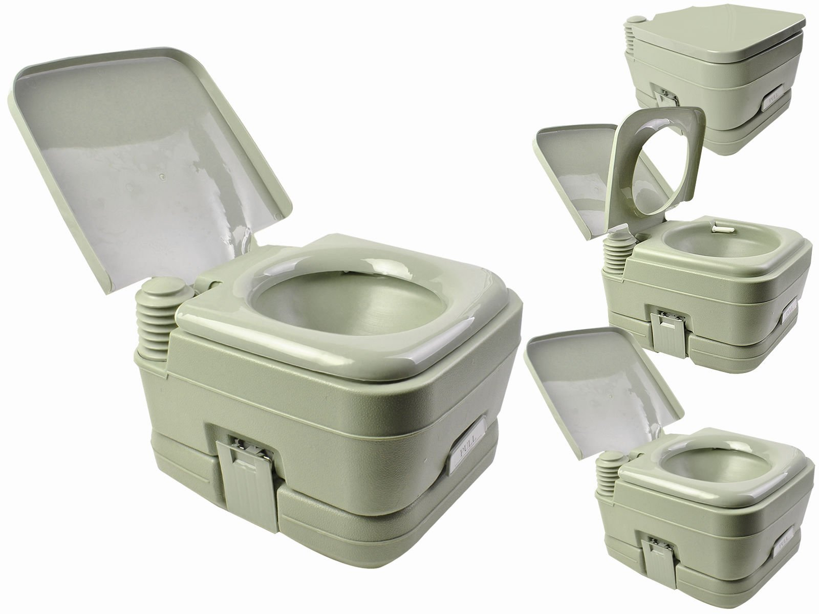 Portable Toilet Travel 2.8 Gallon 10L Camping Outdoor Indoor Potty Flush Green