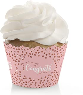product image for Big Dot of Happiness Rose Gold Grad - Graduation Party Decorations - Party Cupcake Wrappers - Set of 12