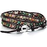 MOWOM Alloy Genuine Leather Bracelet Bangle Cuff Rope for Women Boys Kids Gemstone Beads Braided 3 Wraps & 5 Wraps Stone…