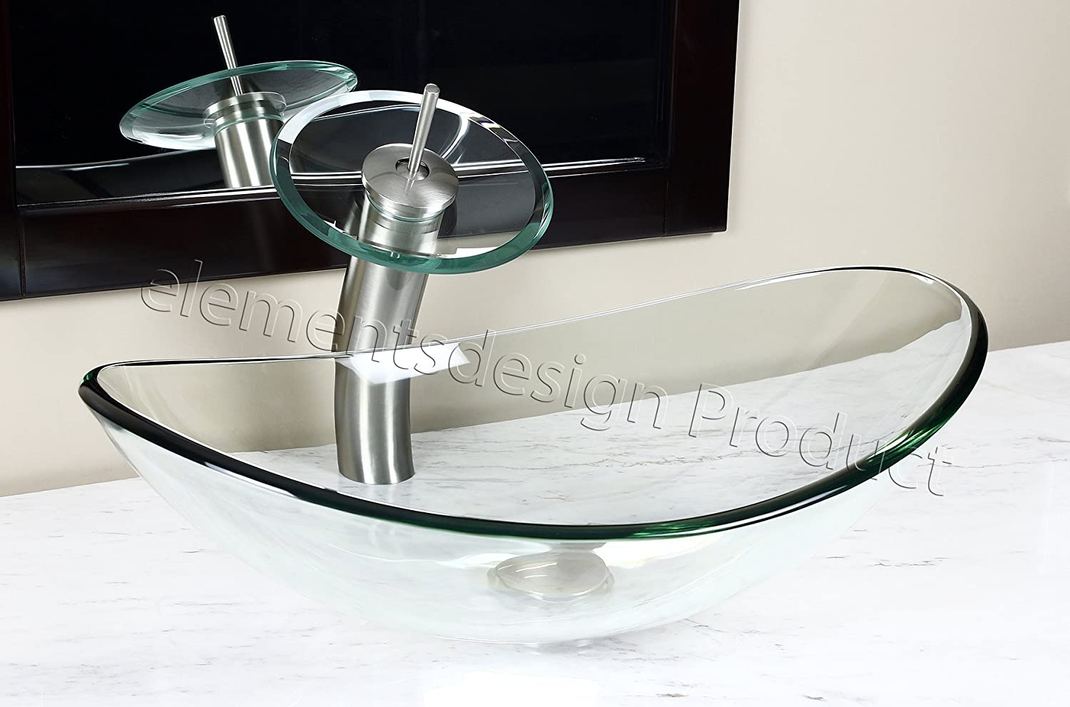 Bathroom clear boat oval Glass Vessel Vanity Sink brushed nickel Faucet TB15N4