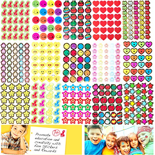 Teacher Stickers Reward Stickers for Kids, 4030 Pieces Incentive Stickers for Teacher Classroom and School Bulk Use,15 Design Styles Including Smiley Face,Star,Thumbs,Heart,Apple ()