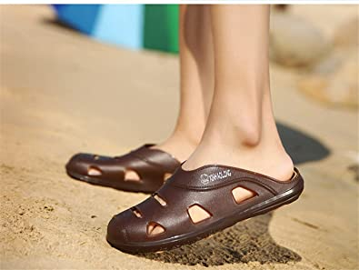 Amazon.com | Summer New Slippers Men Casual Slippers Water Shoes Men De Hombre Verano Cuero Shoes Men Fashion Beach Sandalias Outdoor Zapatos | Mules & ...
