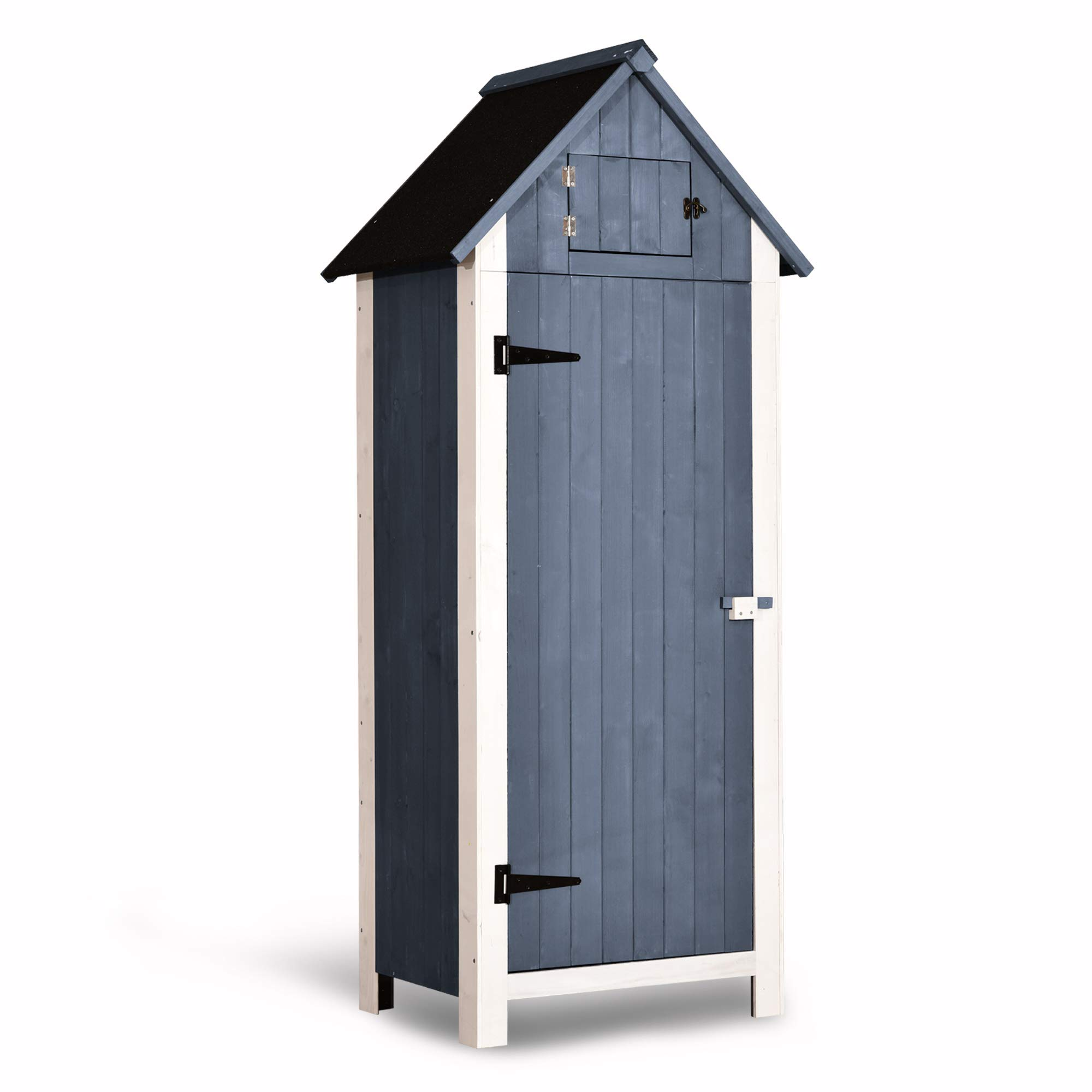 MCombo Outdoor Storage Cabinet Tool Shed Wooden Garden Shed Organizer Wooden Lockers with Fir Wood (70'') (Grey) by MCombo