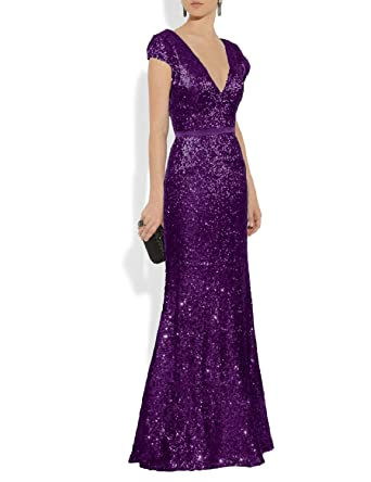 37a1445c4cec YSMei Women's Sequins Bridesmaid Dress Long Cap Sleeves Prom Formal Gowns  Plunge V Neck Purple 2