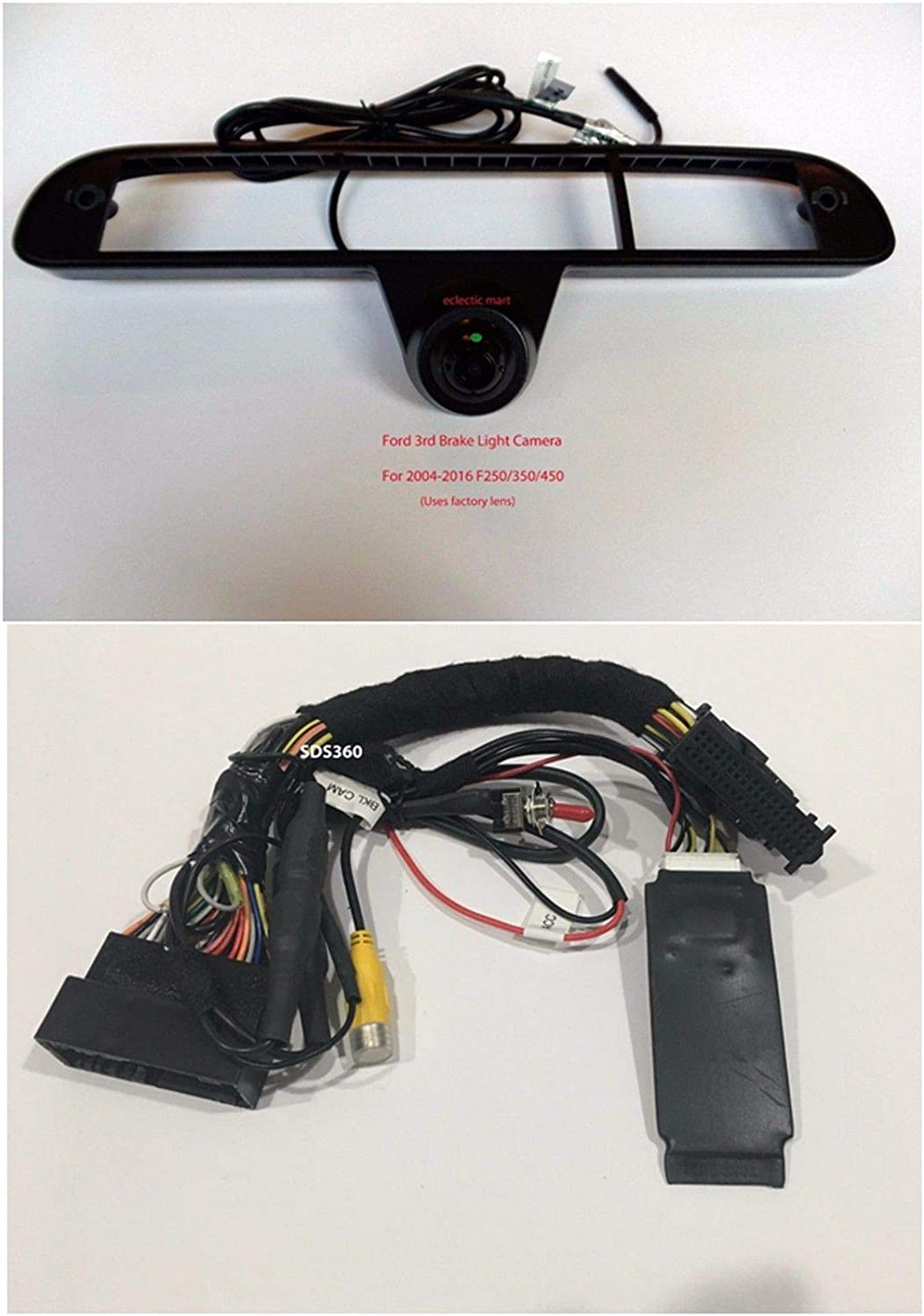Plug /& Play T Harness Switcher 3rd Brake Light Cargo Camera to Factory Radio 1999-2016 F250 // F350 // F450 SYNC 2 /& SYNC 3 System 8 Screen Truck Must Have a Factory Tailgate Handle Camera