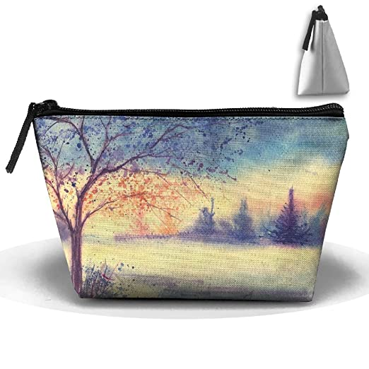 e82ab6cfe910 Amazon.com: Tree Grass Watercolor Painting Toiletry Pouch Makeup Bag ...