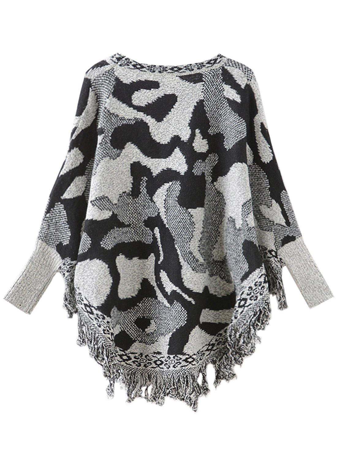 black and grey camouflage Futurino Womens Warm Tassel Poncho Sweater Cape Shawls Batwing Sleeves