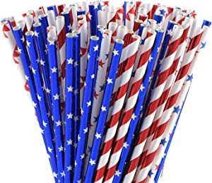 ALINK American Flag Red Blue White Paper Straws, 100 Biodegradable Straws for Memorial Day /4th of July, Super Bowl, Patriotic Party, Americana Themed Party Celebration and Holiday