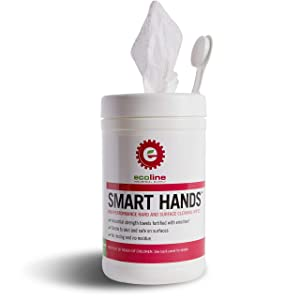 Ecoline - Smart Hands High Performance Hand and Surface Cleaning Wipes, Industrial Strength Cleaner, Disposable Wet Cloth, 90 Towels