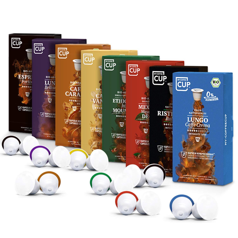 Kaffee-Liebhaber-Box - 8 x 10 BIO Kaffeekapseln von My-CoffeeCup   Kompatibel mit Nespresso®*-Maschinen   100% kompostierbare Kapseln ohne Alu   80 Kapseln 8 Sorten