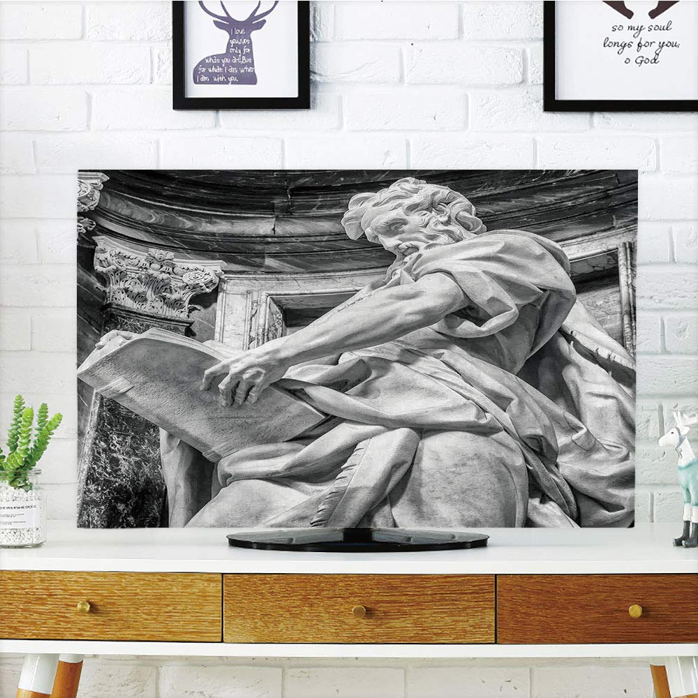 """LCD TV dust Cover Customizable,Sculptures Decor,Statue of St. Matthew at The Basilica of St. John Lateran in Rome Cthedra with Pillars,Bronze,Graph Customization Design Compatible 37"""" TV"""
