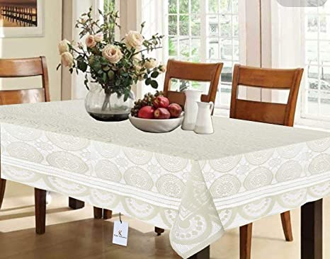 Amazon.in & Kuber Industries Cotton Dining Table Cover for 6 Seater - Cream