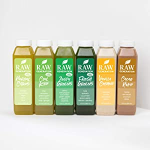 Raw Generation® 3-Day Low Sugar Juice Cleanse - 65% Less Sugar Than Other Cleanses/Juices with Superfoods / 100% Plant-Based Smoothies/Lose Weight Deliciously (18 Count)
