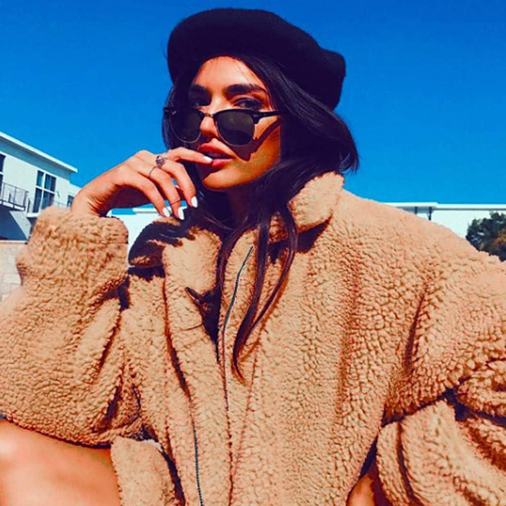 Womens Ladies Warm Artificial Wool Lapel Coat Zipper Jacket Shearling Shaggy Winter Parka Outerwear