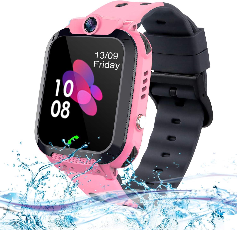 Niños Smart Watch Phone, La Musica Smartwatch para niños de 3-12 años Niñas con cámara Ranura para Tarjeta SIM Juego de Pantalla táctil Smartwatch Childrens Gift(Rosa)